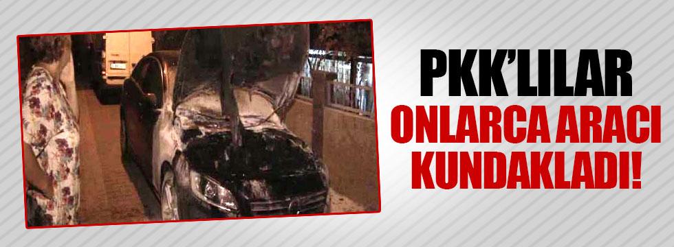 PKK'lılar 26 aracı kundakladı