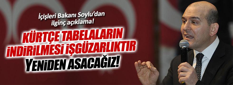 Bakan Soylu, Kürtçe tabelaları yeniden asılacak