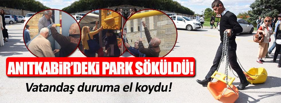 Vatandaşlar Anıtkabir'deki parkı söktü