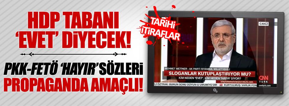 """AKP'li Metiner: """"HDP tabanı evet diyecek"""""""