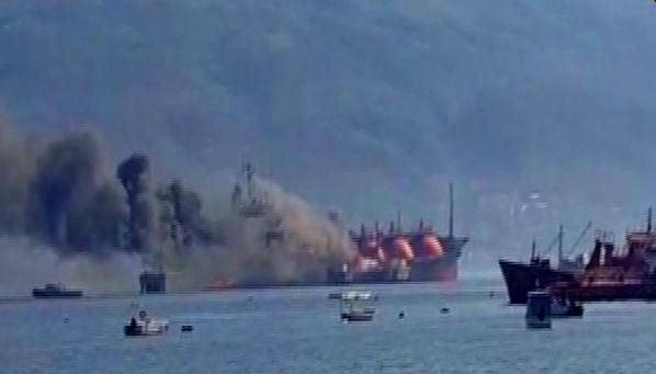 Kocaeli'de, LPG yüklü tankerde yangın