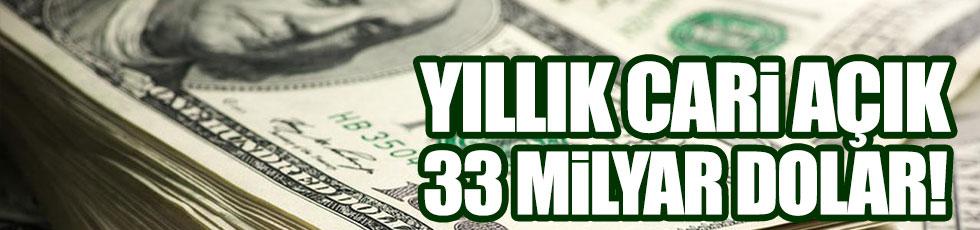 Yıllık cari açık 33 milyar dolar