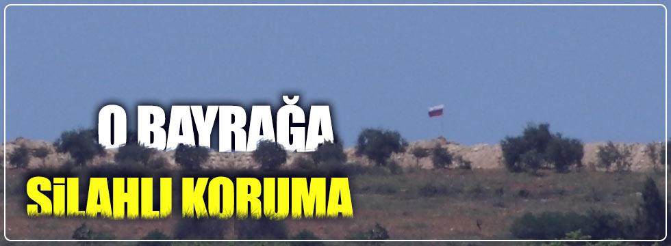 Sınırdaki Rus bayrağına silahlı koruma