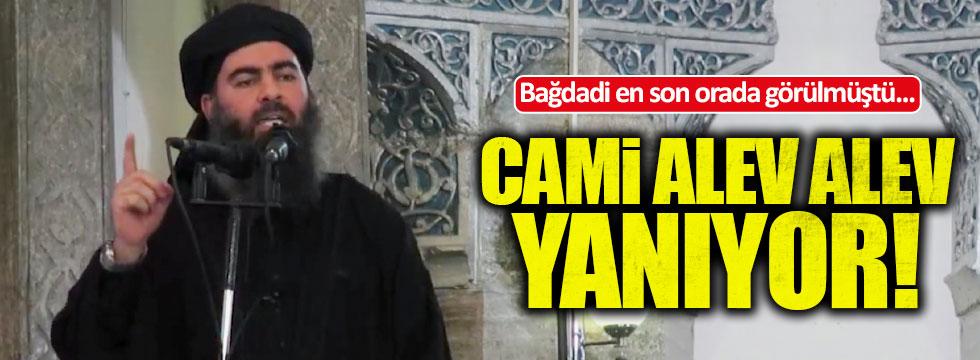 Bağdadi'nin hilafet ilan ettiği cami yanıyor