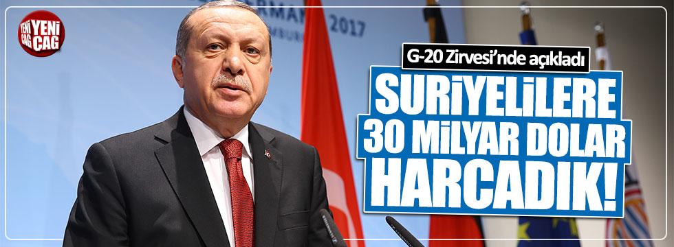 Erdoğan: Suriyelilere 30 milyar dolar harcadık