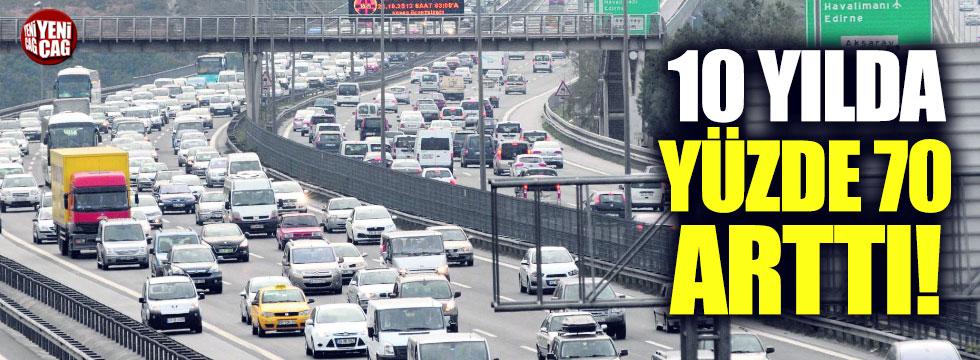 Trafiğe kayıtlı araç sayısı 10 yılda yüzde 70 arttı