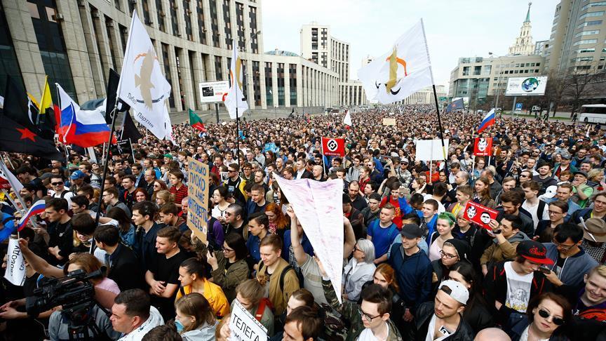 Moskova'da 'Telegram yasağı' protestosu