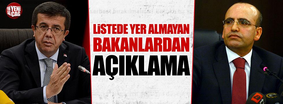 AKP listelerinde yer almayan Zeybekci ve Şimşek'den açıklama