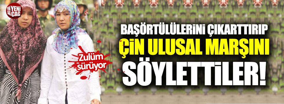 Uygur Türkleri'ne zorla Çin ulusal marşını söylettiler