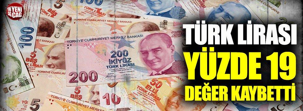 Türk Lirası'nın değeri yüzde 19,17 azaldı