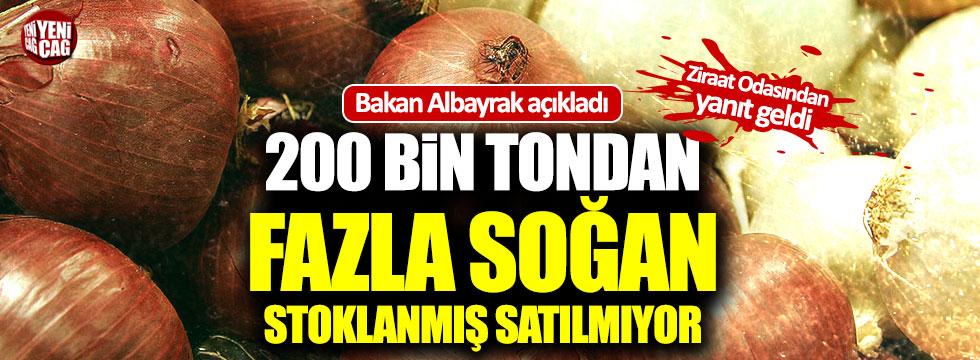 Albayrak: 200 bin tondan fazla soğan stoklanmış satılmıyor
