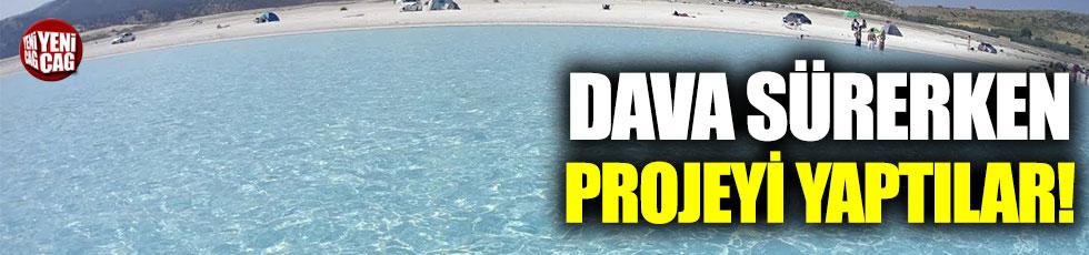 Salda Gölü'ndeki gölet, dava sürerken yapıldı