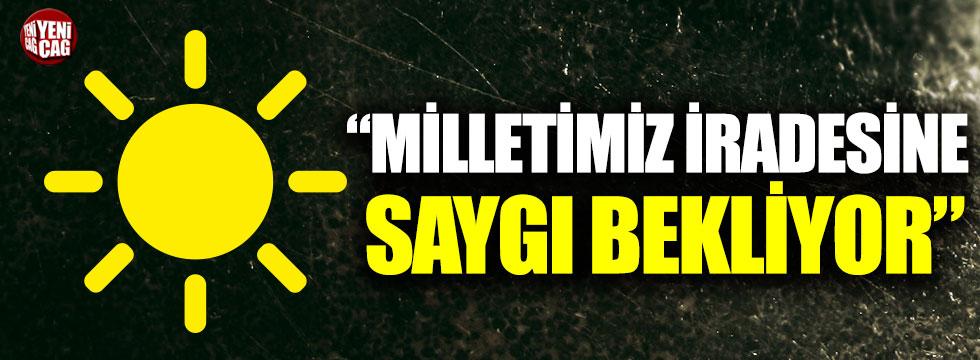 """Cihan Paçacı: """"Milletimiz iradesine saygı bekliyor"""""""