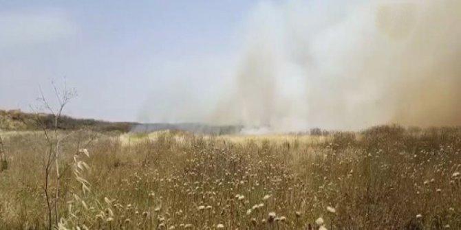 Sınırdaki mayınlı alanda yangın