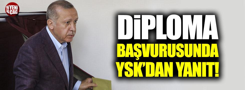 Erdoğan'ın diploması hakkında yapılan başvuruya YSK'dan yanıt!