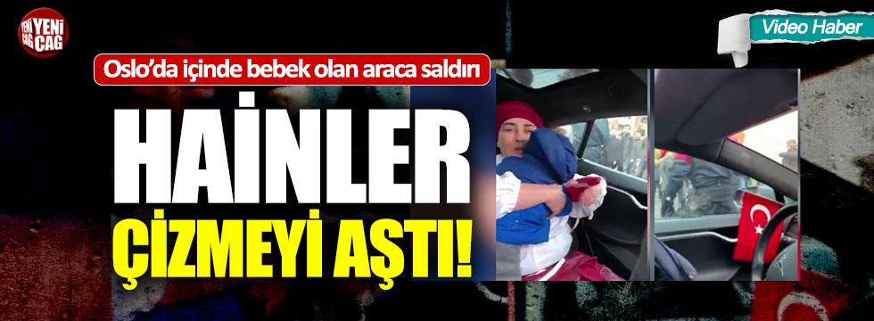 PKK'lılar içinde bebek olan Türk bayraklı araca saldırdı