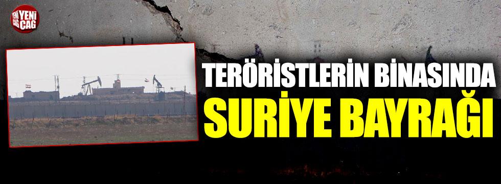 Kamışlı'da, teröristlerin kullandığı binada Suriye bayrakları