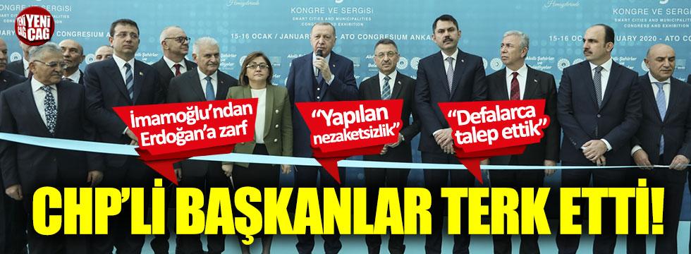 CHP'li Başkanlar Erdoğan'ın katıldığı programı terk etti