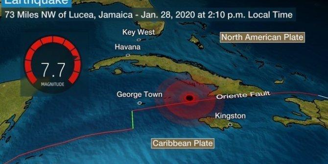 Küba açıklarında 7,7 büyüklüğünde deprem