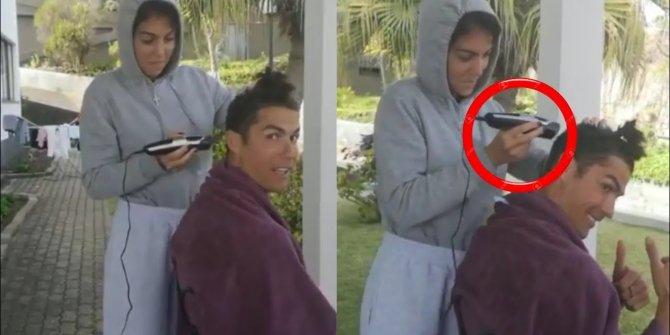 Cristiano Ronaldo, saçlarını kız arkadaşına kestirdi... O anlar gündem oldu