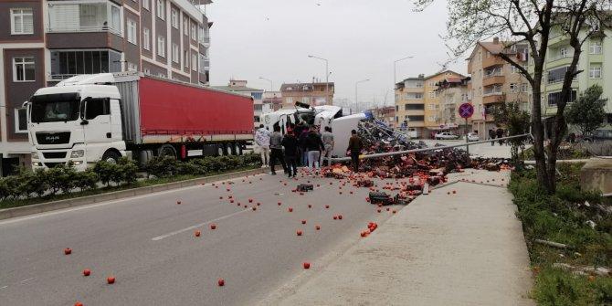 Ordu'da TIR devrildi, sebzeler yola saçıldı