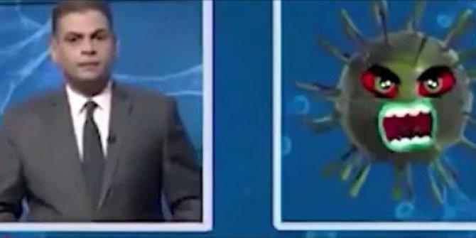 Iraklı spiker korona virüs ile röportaj yaptı sosyal medyada olay oldu