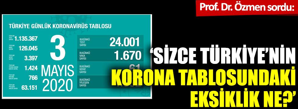 Prof. Özmen sordu: Sizce Türkiye'nin korona tablosundaki eksiklik ne?