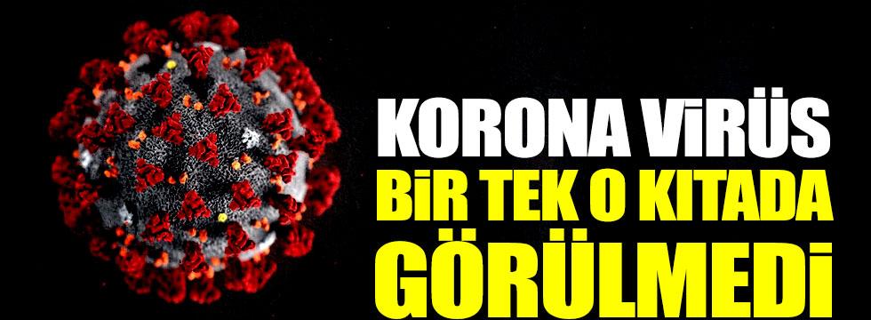 Korona virüs bir tek o kıtada görülmedi!