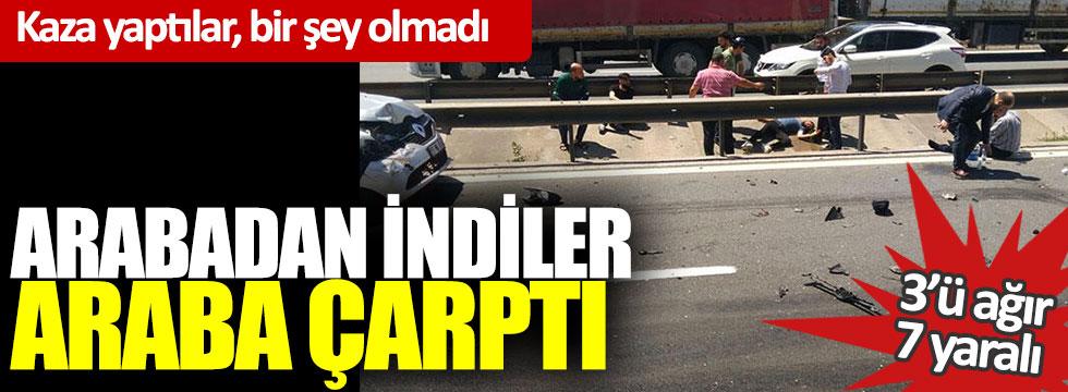 Kaza yaptılar bir şey olmadı: arabadan indiler araba çarptı