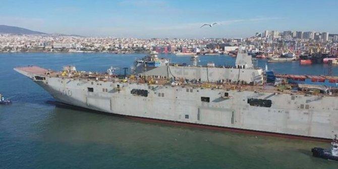 Türkiye'nin ilk uçak gemisi 'TCG Anadolu'da çalışmalar hız kesmeden sürüyor