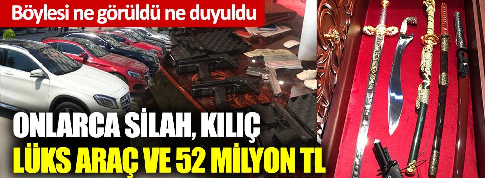 Böylesi ne görüldü ne duyuldu: Onlarca silah, kılıç, lüks araç ve 52 milyon TL ele geçirildi