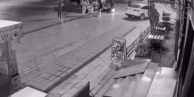 Motosiklet sürücüsü bankın üzerine böyle uçtu
