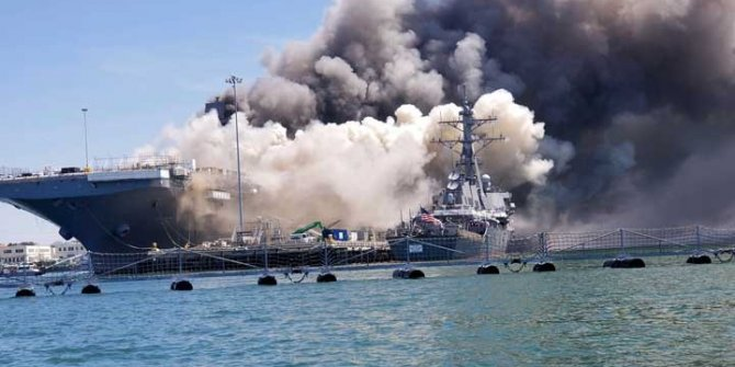 Hollywood filmlerinde kullanılmıştı bu kez bir film sahnesi değil: Dev savaş gemisi alev alev yandı