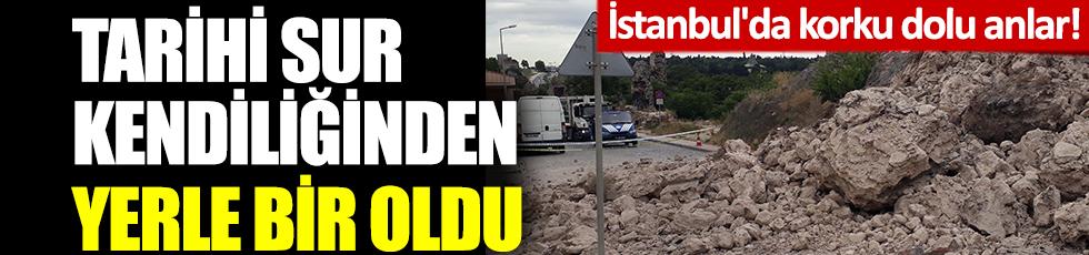 İstanbul'da korku dolu anlar! Tarihi sur kendiliğinden yerle bir oldu