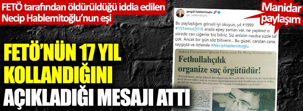 Necip Hablemitoğlu'nun eşinden manidar paylaşım