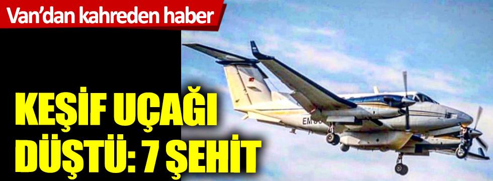 Van'da keşif uçağı düştü:7 şehit