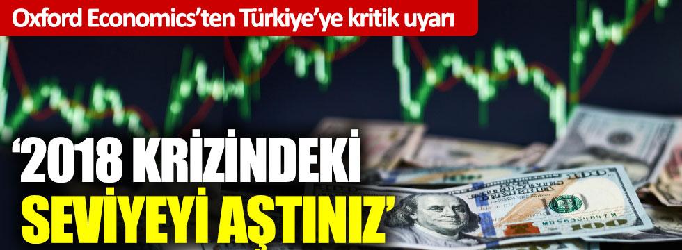 Oxford Economics'ten Türkiye'ye kritik uyarı: '2018 krizindeki seviyeyi aştınız'