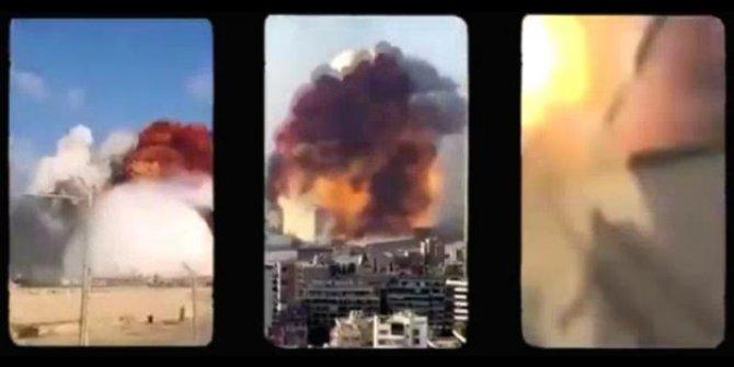 Beyrut'taki patlama 15 farklı kameraya böyle yansıdı