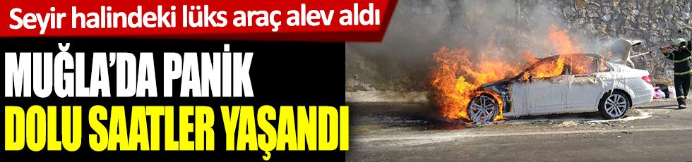 Seyir halindeki lüks araç alev aldı! Muğla'da panik dolu saatler yaşandı