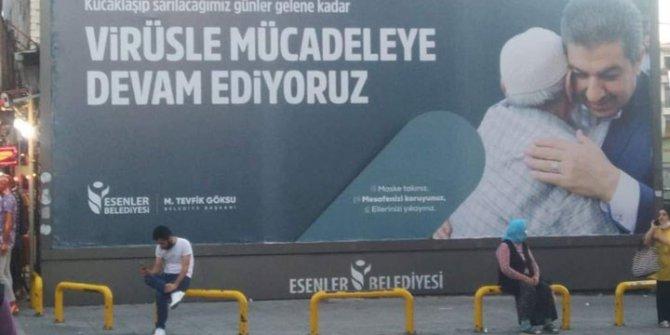 Esenler Belediyesi'nin korona virüs afişi tepki topladı