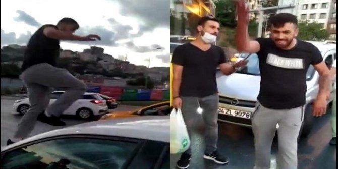 Trafikte kadına hakaret ederek saldırdı! O anlar kamerada