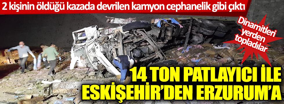 Erzurum'da facianın eşiğinden dönüldü! Dinamit yüklü kamyon devrildi