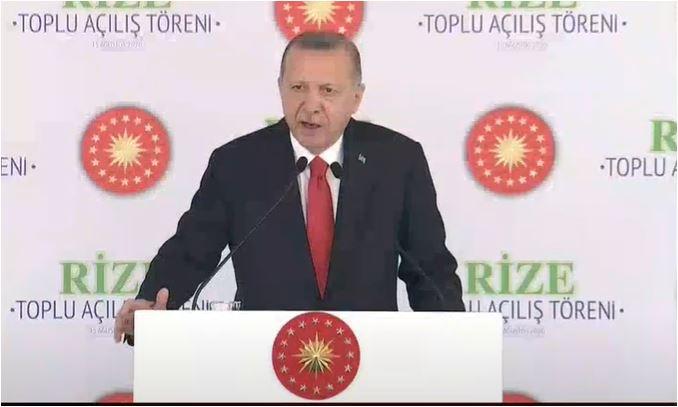 Cumhurbaşkanı Erdoğan Rize'de konuşuyor