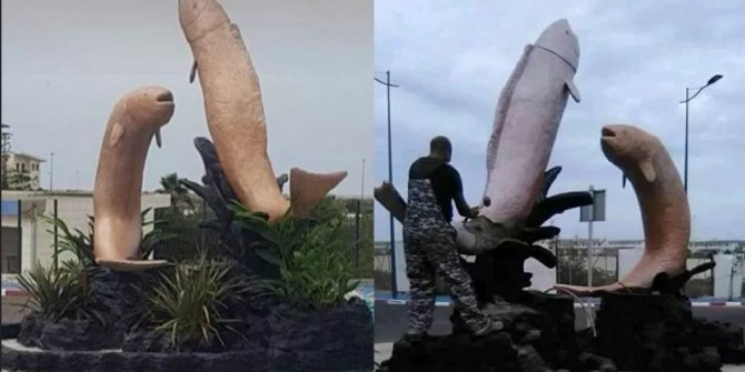 Fas halkı balık heykelleri yüzünden birbirine girdi. Böyle balık heykeli olur mu