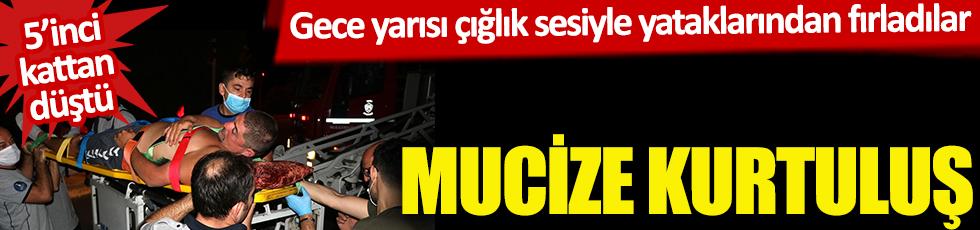 İzmir'de mucize kurtuluş! 5'inci kattan düştü! Gece yarısı çığlık sesiyle yataklarından fırladılar