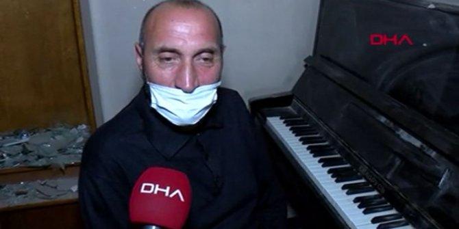 Gence'de Ermenistan'ın füzesiyle harabe olan evinde Sarı Gelin türküsünü çaldı