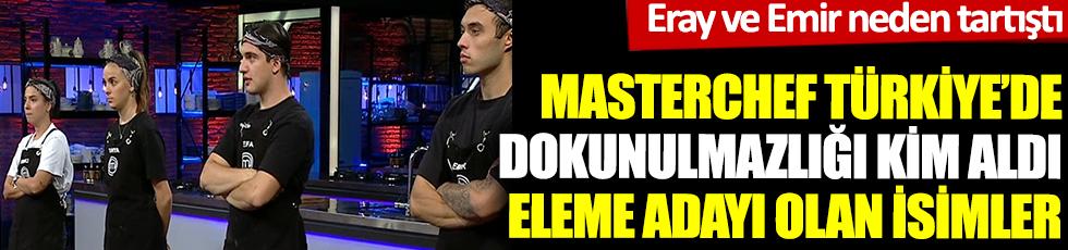 MasterChef Türkiye eleme adayları kimler oldu. 20 Ekim MasterChef Türkiye bireysel dokunulmazlığı kim kazandı. Eray ve Emir neden tartıştı?