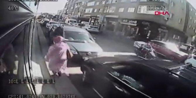 Otobüse alınmayan öfkeli kadın neler yaptı neler. Bindiği taksiyle takip etti. Çevredekiler şok oldu