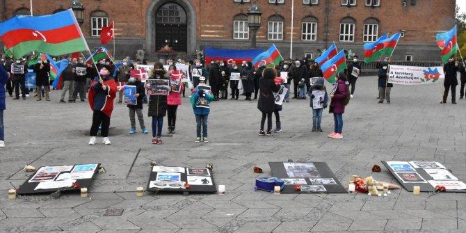 Danimarka'da Azerbaycan'a destek gösterisi
