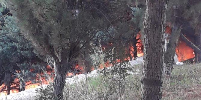 Bakırköy'de halı saha deposunda yangın